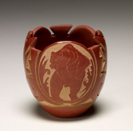 Miniature redware jar with cut rim and sgraffito design