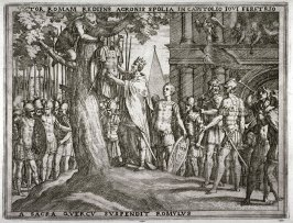 Romulus Hangs Acron's Armor on the Sacred Oak at the Capitol, pl.15 from the series The Story of Romulus and Remus