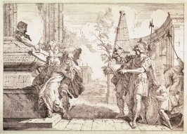 Soldiers and a Woman Weeping by a Tomb, from the suit Varii baccanali et istorie...