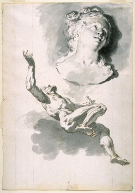 Male Nude Floating Upward, His Arms Outstretched; A Bust of a Young Woman