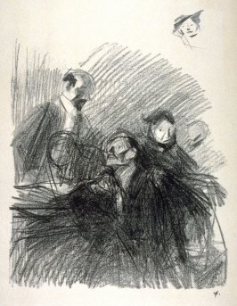 Scene d'Audience (Group of two men and one woman, on right above sketch of a woman's head)