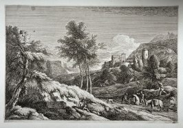 Landscap with people and fallen horse