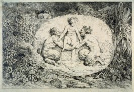 Nymphes s'asseyant sur les mains de deux satyres (Nymph Supported by Two Satyrs), from set of four Bacchanales