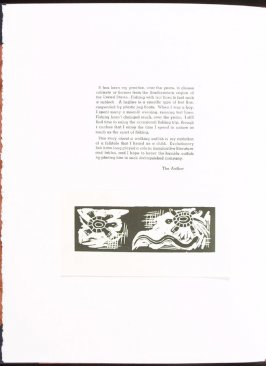Tailpiece to author's introduction on page opposite page 1 of the story, The Walking Catfish by Ke Francis, third image in the book Jugline: A Fish Tale and a Portfolio of Prints (Tupelo MS: Hoopsnake Press, 1992)