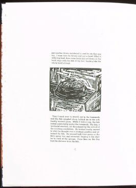Untitled (food bowl) on page 4 of the story, The Walking Catfish by Ke Francis, sixth image in the book Jugline: A Fish Tale and a Portfolio of Prints (Tupelo MS: Hoopsnake Press, 1992)