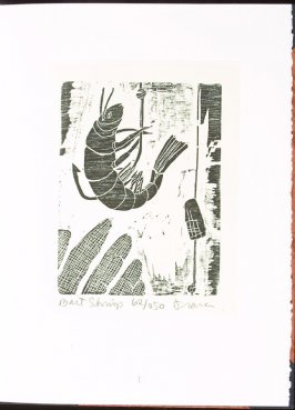 Bait Shrimp, plate 1 in the portfolio section, Portfolio, Ten Prints Related to the Pastime of Fishing by Ke Francis, twelfth image in the book Jugline: A Fish Tale and a Portfolio of Prints (Tupelo MS: Hoopsnake Press, 1992)