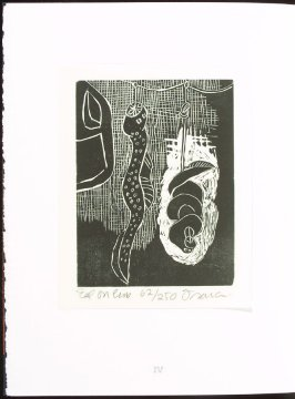 Eel on Line, plate 4 in the portfolio section, Portfolio, Ten Prints Related to the Pastime of Fishing by Ke Francis, fifteenth image in the book Jugline: A Fish Tale and a Portfolio of Prints (Tupelo MS: Hoopsnake Press, 1992)