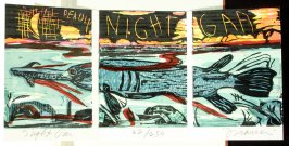 The Deadly Night Gar, plate 10 in the portfolio section, Portfolio, Ten Prints Related to the Pastime of Fishing by Ke Francis, twenty-first image in the book Jugline: A Fish Tale and a Portfolio of Prints (Tupelo MS: Hoopsnake Press, 1992)