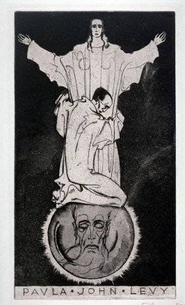 bookplate for Paula John Levy, (One of 10 Book Plate Etchings)