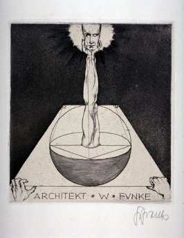 bookplate for Architekt W. Funke, (One of 10 Book Plate Etchings)