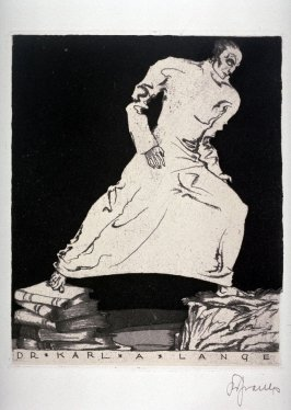 bookplate for Dr. Karl A. Lange, (One of 10 Book Plate Etchings)