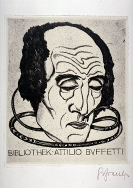 Bibliothek Attilio Buffetti, (One of 10 Book Plate Etchings)