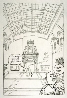 """original drawing for p. 7 of The Ghost of the de Young Museum- """"Farley, Irene and Olive.....One San Francisco Family's Unusual Visits to the Museum."""""""