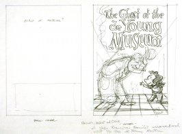 """original drawing for p. 25 of The Ghost of the de Young Museum- """"Farley, Irene and Olive.....One San Francisco Family's Unusual Visits to the Museum."""""""