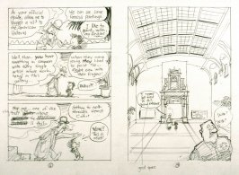 """sketch for pp. 6 and 7 of The Ghost of the de Young Museum- """"Farley, Irene and Olive.....One San Francisco Family's Unusual Visits to the Museum."""""""
