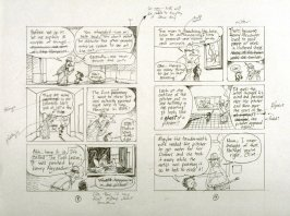 """sketch for pp. 8 and 9 of The Ghost of the de Young Museum- """"Farley, Irene and Olive.....One San Francisco Family's Unusual Visits to the Museum."""""""