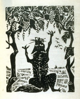 The Fox and the Grapes, illustration for the first fable in the book, Known Fables (New York: Spiral Press, 1964)