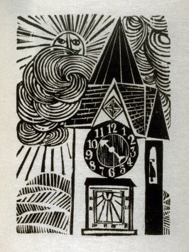 The Clock and the Dial, illustration for the eighth fable in the book, Known Fables (New York: Spiral Press, 1964)