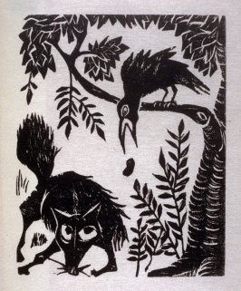 The Fox and the Crow, illustration for the ninth fable in the book, Known Fables (New York: Spiral Press, 1964)