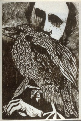 Untitled (Poe with Raven), fifth plate in the book The Face of Edgar Allan Poe. With a Note on Poe by Charles Baudelaire, translated by Lois and Francis E. Hyslop Jr. ([New York: n. p., 1959])