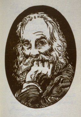 Untitled (oval portrait), and ninth image in the book A Whitman Portrait, Woodcuts by Antonio Frasconi ([New York: Spiral Press, 1960])