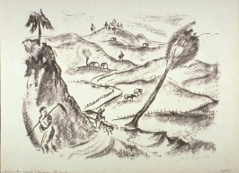 [Landscape with shepherd walking along a road in the foreground]