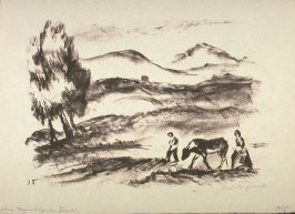 [Landscape with two figures and a cow]