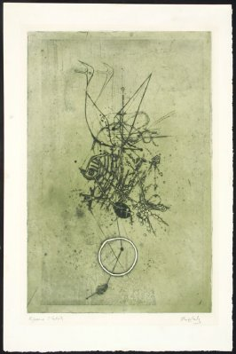 Untitled (Abstract with Green and Black Fish / Birds)