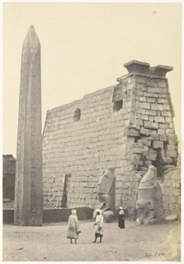 """Entrance to the Great Temple, Luxor,"" in the book Egypt and Palestine, 2 vols., by Francis Frith (London: James S. Virtue, 1858-1859); volume I of II"