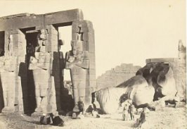 """Osiride Pillars and Great Fallen Colossus,"" in the book Egypt and Palestine, 2 vols., by Francis Frith (London: James S. Virtue, 1858-1859); volume I of II"
