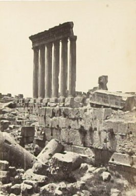 """Baalbec: Distant View of the Six Columns of the Great Temple,"" in the book Egypt and Palestine, 2 vols., by Francis Frith (London: James S. Virtue, 1858-1859); volume I of II"