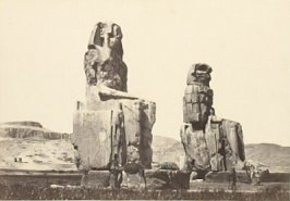 """The Statues of Memnon, Plain of Thebes,"" in the book Egypt and Palestine, 2 vols., by Francis Frith (London: James S. Virtue, 1858-1859); volume I of II"