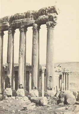 """The Great Columns and Smaller Temple, Baalbec,"" in the book Egypt and Palestine, 2 vols., by Francis Frith (London: James S. Virtue, 1858-1859); volume I of II"