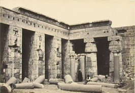"""Interior Court of the Temple of Medinet-Haboo, Thebes,"" in the book Egypt and Palestine, 2 vols., by Francis Frith (London: James S. Virtue, 1858-1859); volume I of II"
