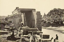 """The Colonnade, Island of Philae,"" in the book Egypt and Palestine, 2 vols., by Francis Frith (London: James S. Virtue, 1858-1859); volume II of II"