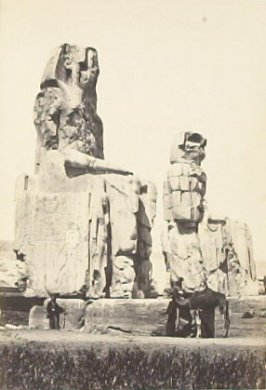 """The Statues of Memnon, Plain of Thebes. (second view),"" in the book Egypt and Palestine, 2 vols., by Francis Frith (London: James S. Virtue, 1858-1859); volume II of II"