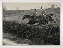 Steeple Chasing - At the Last Fence, from Harper's Weekly (25 April 1874, p. 366)
