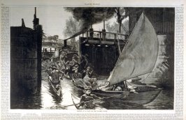 Sketch at a Lock on the Thames River, from Harper's Weekly (23 June 1877, pages 484-485)
