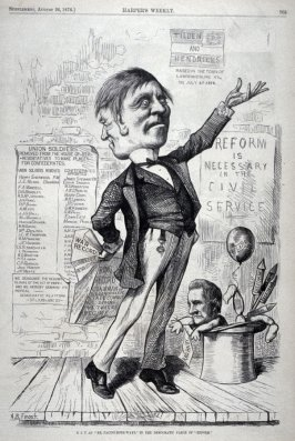 """S.J.T. as """"Mr. Facing-Both-Ways"""" in the Democratic Farce of """"Reform"""" - from Harper's Weekly, Supplement, (August 26, 1876), p. 705"""