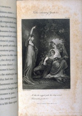 Virtue reclaiming Youth, &c., plate opposite page 44, in the book, Poems by William Cowper (London: J. Johnson , 1808), vol. 1