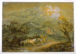 Upland Landscape with Figures, Riders and Cattle