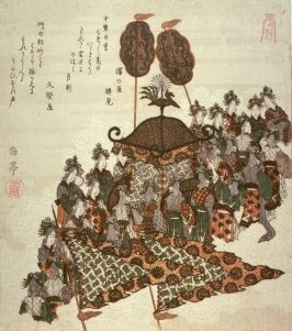 Angels and Carriage, upper left sheet of four illustrating The Ascent to Heaven from the Bamboo Cutter'sTale (Taketari amaagari)