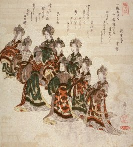Angels on Clouds, lower right sheet of four illustrating The Ascent to Heaven from the Bamboo Cutter'sTale (Taketari amaagari)