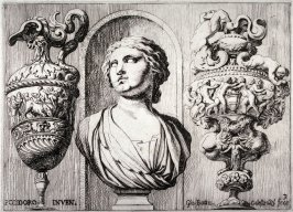 Bust of a Woman in a Niche between Two Vases, plate 3 from the series of Antique War Trophies after Polidoro da Caravaggio's façade for the Palazzo Milesi, Rome