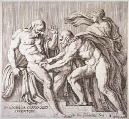 The Castration of Uranus, pl. 1 from the series Subjects from Roman History after Polidoro da Caravaggio's fresco on the façade of the Palazzo Milesi, Rome