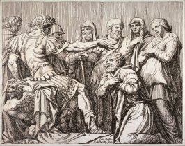 The Family of Darius at the Feet of Alexander, pl. 5 from the series Subjects from Roman History after Polidoro da Caravaggio's fresco on the façade of the Palazzo Milesi, Rome