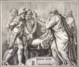 Two Senators Speaking to the Vanquished Kings, pl. 6 from the series Subjects from Roman History after Polidoro da Caravaggio's fresco on the façade of the Palazzo Milesi, Rome