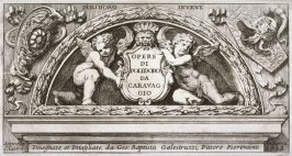 Two Putti Supporting a Cartouche, frontispiece for the series Polidoro Invent: Opere di Polidoro da Caravaggio