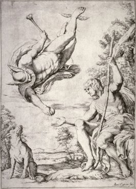 Mercury Bringing the Golden Apple to Paris, after Annibale Carracci's panel in the Farnese Gallery