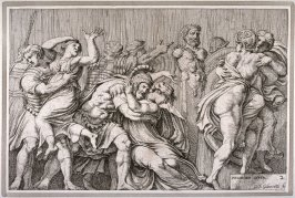 he Rape of the Sabine Women, after Polidoro da Caravaggio's fresco on the façade of the Palazzo Milesi, Rome, from Subjects from Roman History